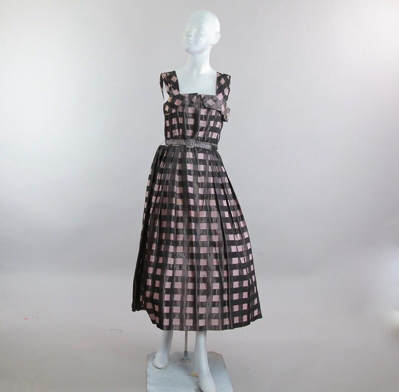 8829f32988 Vintage 50s 60s belted plaid pink black dress sundress swing