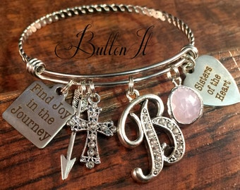 Best friend gift, Sisters of the heart, Find joy in the journey, BAPTISM gift, Christian jewelry, friendship bracelet, Bangle charm bracelet