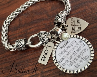Daughter in law bracelet, future daughter in law, bride heart, giving away my son is not an easy thing to do, lucky to be giving him to you