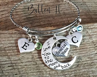 Mother's Day gift, MOM gifts, BIRTHSTONE jewelry, Mom jewelry, Grandma gift, GRANDCHILDREN bracelet, birthday gift, Initial bracelet, Mother