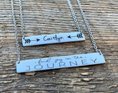 Graduation, Find joy in the journey, Bar necklace, personalized necklace, Name necklace, Horizontal bar necklace, engraved necklace, arrow