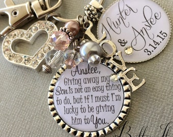 Future Daughter In Law Gift Wedding Bouquet Charm Giving Away My Son Is Not An Easy Thing To Do Bridal Bride