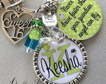Sweet 16 Key Chain MONOGRAM Never Drive Faster Than Guardian Angel Can Fly