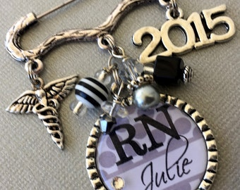Nursing Pinning Ceremony, RN jewelry, Nurse Graduation, Custom gift, RN brooch, Nurse graduate, Class of 2018 caduceus RN pin, nurse jewelry