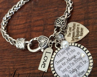 Mother's Day, Mother daughter bracelet, mother daughter jewelry Daughter bracelet, Daughter in law, Gift for bride from mom, charm bracelet