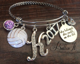 Senior 2021, VOLLEYBALL Gifts, Senior gifts, Graduate, Class of 2021, Graduation gift, Birthstone jewelry, BANGLE, She believed she could