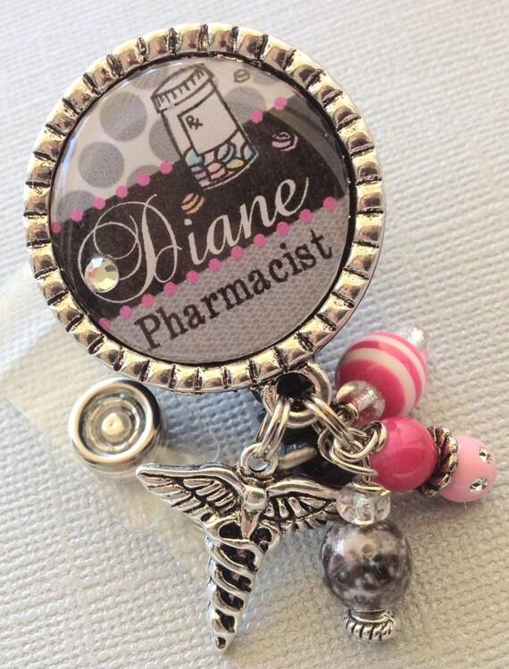Pill bottle badge reel pharmacist badge reel- pharmacy tech badge reel badge reel- pharmacist gift pharmacist badge reel