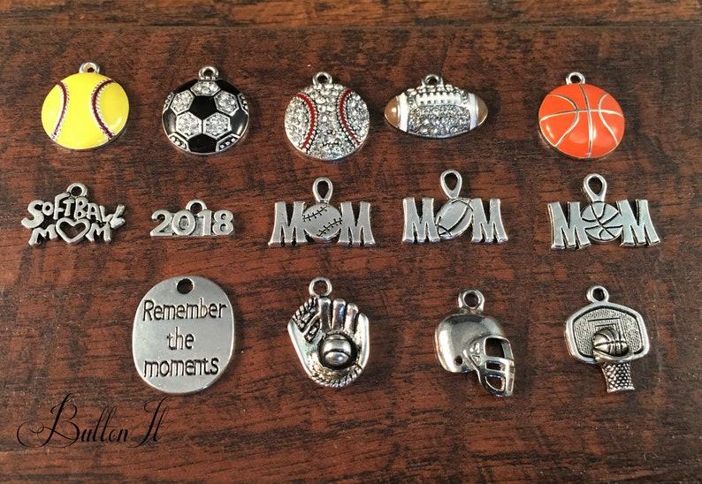 Baseball mom football mom logo charm spirit wear engraved charm school mascot logo gifts for her wrestling mom proud mom mom gift