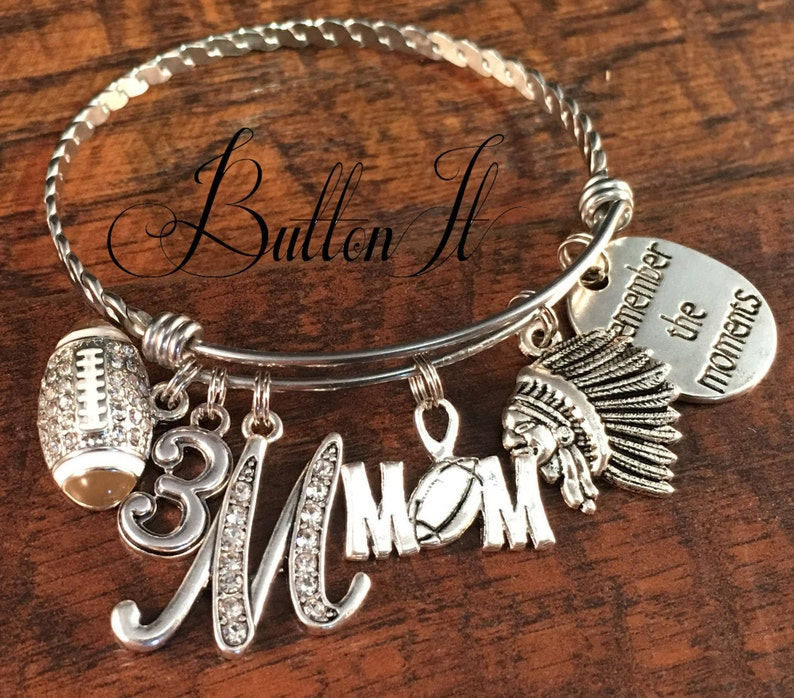 Football Mom Baseball Charm Bracelet Birthday Gift