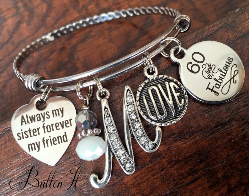 Sister Gift 60th Birthday 50th 40th Best FRIEND Milestone Bangle Initial Jewelry
