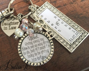 Daughter in law gift, bride heart, giving away my son is not an easy thing to do, Bridal bouquet charm, lucky to be giving him to you