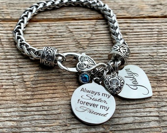 Sister gift, sister birthday gift, personalized, Sister bracelet, SISTER jewelry, Big sister, long distance, miles apart, soul sister