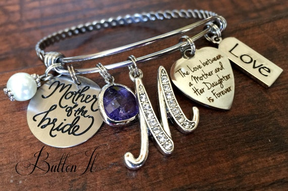 Mother of the BRIDE gift, Mother of the Groom, Mother daughter jewelry, BANGLE bracelet, charm bracelet, mother son,