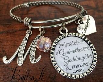 Goddaughter gift, BAPTISM gift for Goddaughter, Godmother gift, Godmother bracelet, Bangle, Quiceanera gift, birthday gift, INITIAL, Cross