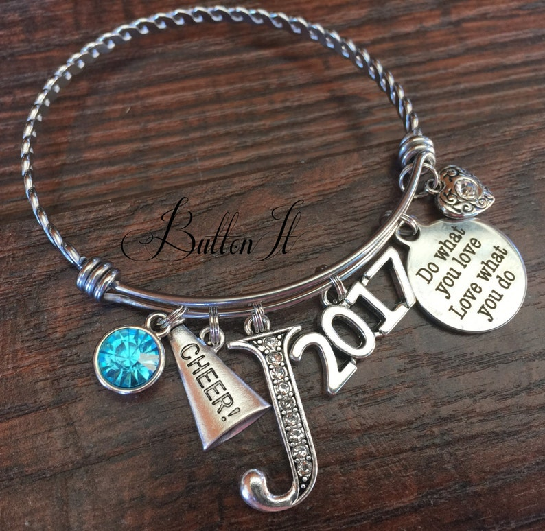 Class of 2018 CHEER Senior night CHEERLEADING Gifts She believed she could Graduation gift Birthstone jewelry Senior gifts Graduate