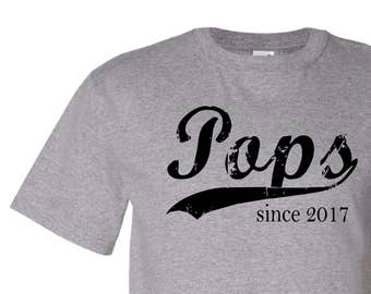 Pops since ANY year, personalized tshirt for a new grandfather, Father's Day gift for Dad or Grandpa