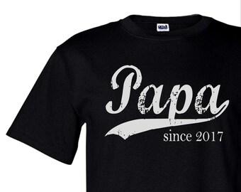 Men's Papa since ANY year t-shirt, new grandfather tee, screen print mens tshirt, Christmas gift men,  custom mens shirt