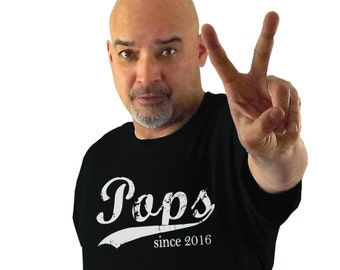 Pops since ANY year, screen print tshirt, grandfather gift, personalized shirt, Father's Day gifts, new grandfather gift, husband gift