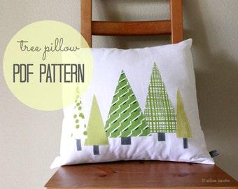 PDF SEWING Pattern, Instant Download, DIY Pillow Cover, Easy Beginner Sewing Tutorial, Tree Pillow