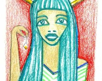 Forest Goddess - Original ACEO minature collectible art
