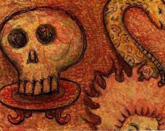 Fire Hair, Snake and Skull ACEO miniature art