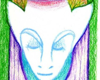 Centered - Original color pencil drawing, miniature art, ACEO