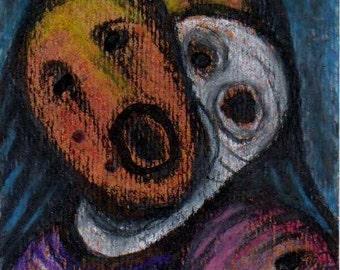 Spirit Masks ACEO - small original art