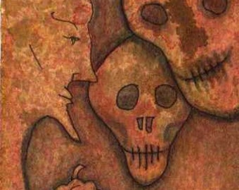 Floating Skulls and Bald Bearded Man with Nerdy Pumpkin Drawing ACEO
