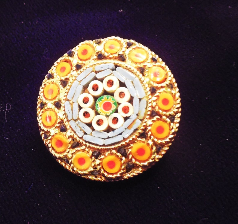Millefiori micro mosaic pin brooch yellow Orange blue 1