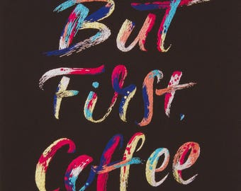 But first, coffee embroidered artwork - giclee print, A3 size