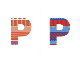 Sweater Letter 'P' Embroidery pattern - 2 colour ways - digital download contemporary needlework