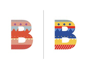 Sweater Letter 'B' Embroidery pattern - 2 colour ways - digital download contemporary needlework