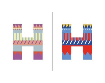 Sweater Letter 'H' Embroidery pattern - 2 colour ways - digital download contemporary needlework