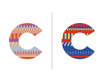 Sweater Letter 'C' Embroidery pattern - 2 colour ways - digital download contemporary needlework