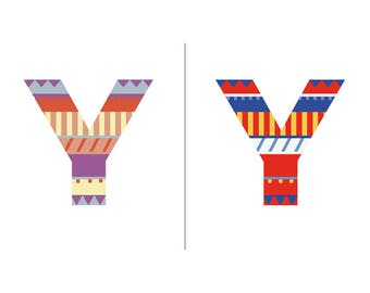 Sweater Letter 'Y' Embroidery pattern - 2 colour ways - digital download contemporary needlework