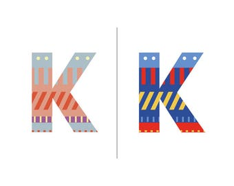 Sweater Letter 'K' Embroidery pattern - 2 colour ways - digital download contemporary needlework
