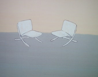 "Two White Chairs - Digital Print, 12"" x 12"""