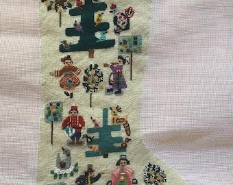 Twelve Days of Christmas- Original design needlepoint stocking
