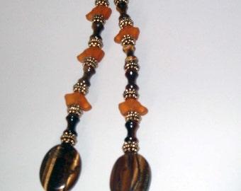 Tiger Eye Lariat Designer Necklace Jewelry w Greyhound