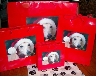 Chinese Greyhound or Whippet Dogs Evergreen Gift Wrap Bags Set of 3