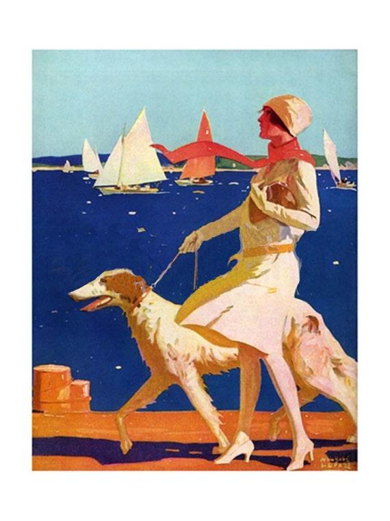 Vintage Beach Greyhound Dogs Art Notecards Set of 4 w//envelopes