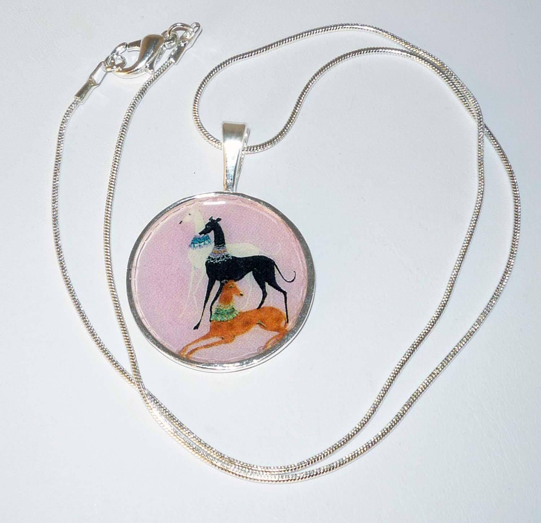 ArtDog Necklace Silver Plated Dog Pendant on a Snake Chain Doberman Pinscher