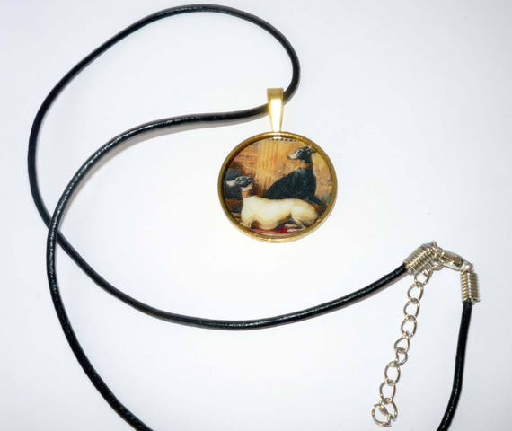 Altered Art Tapestry Greyhound Dogs Pendant Necklace Gold Plated Rnd Setting