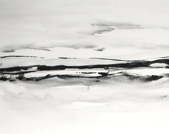 original watercolor abstract landscape painting large contemporary seascape watercolor modern black white landscape watercolor