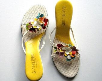 ac6dc04f5fa Vintage Sandals - Sam   Libby - Floral - Kitten Heels