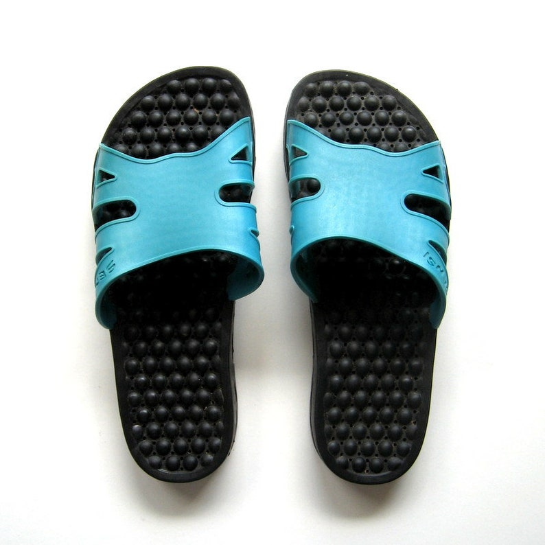 52c55df600e54 Vintage Sandals - Sensi - Spa sandals, Waterproof sandals, Massaging  bubbles, Slip on sandals, Turquoise and black, Made in Italy, Size 5/6