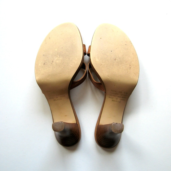 Vintage Sandals Apostrophe Melrose Slip on sandals, Brown leather, Straps, Gold buckle, Wooden heels, Made in China, Size 6.5M