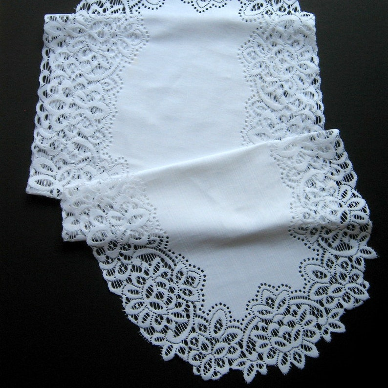 Housewares Table d\u00e9cor Home d\u00e9cor Wide lace border 52 inches long Vintage White Lace Table Runner or Dresser Scarf Table linen