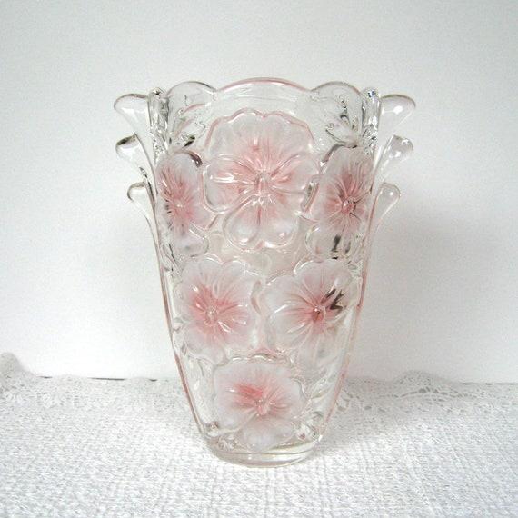 Vintage Glass Vase Flower Vase Heavy Glass Thick Glass Etsy