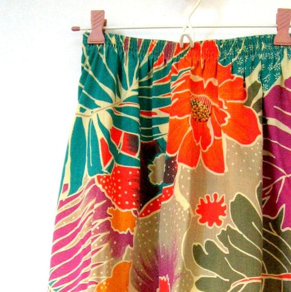 Short skirt Tropical Skirt Palm fronds Gathered skirt Vintage Skirt Tropical flowers Floral skirt Flowers Elastic waistband